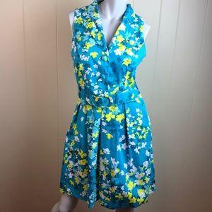 Spense Teal Yellow Vintage Style Rockabilly Dress